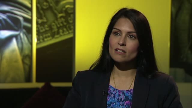 priti patel interview england london int priti patel mp interview sot - priti patel stock-videos und b-roll-filmmaterial