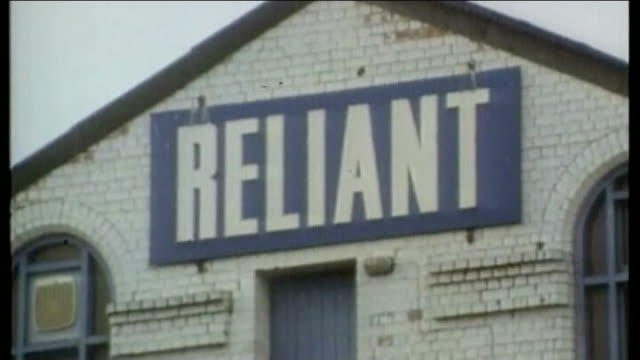 unemployment falls to seven year low t02049609 241996 'reliant' sign over factory reliant robin car production line ext robin reliant car towed from... - low unemployment stock videos & royalty-free footage