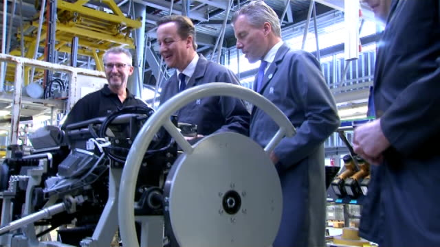 unemployment falls to seven year low west sussex chichester rolls royce david cameron mp chatting with workers as touring rolls royce factory floor/... - low unemployment stock videos & royalty-free footage