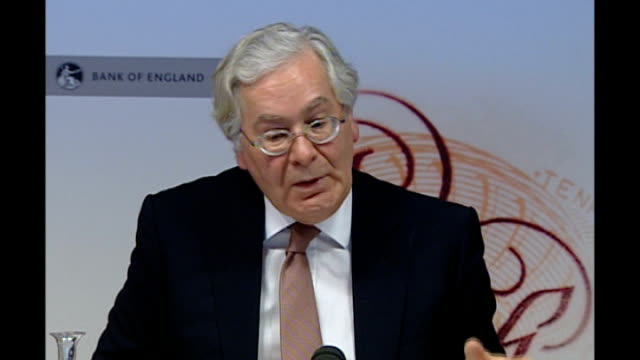Unemployment figures show one in five young people are out of work / Impact of inflation rises INT Mervyn King along to press conference with other...