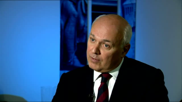 Interview Iain Duncan Smith MP ENGLAND London Westminster INT Iain Duncan Smith MP interview on unemployment figures S OT