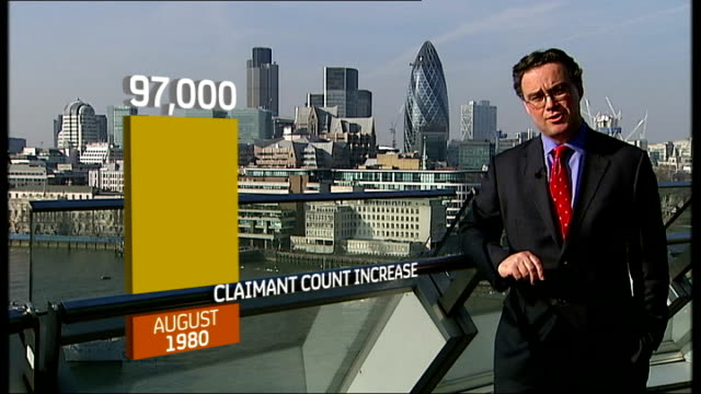stockvideo's en b-roll-footage met unemployment passes 2 million; london: ext graphicised sequence reporter to camera with graph overlaid john philpott interview sot - graph