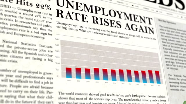 unemployment rate newspaper headline news - unemployment stock videos and b-roll footage