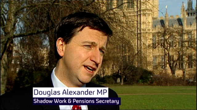 unemployment rises to 25 million westminster ext douglas alexander mp interview sot - douglas alexander stock videos & royalty-free footage
