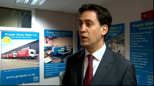 work programme failing to reach targets hertfordshire stevenage ed miliband mp interview sot these figures show that the work programme isn't working... - stevenage stock videos and b-roll footage