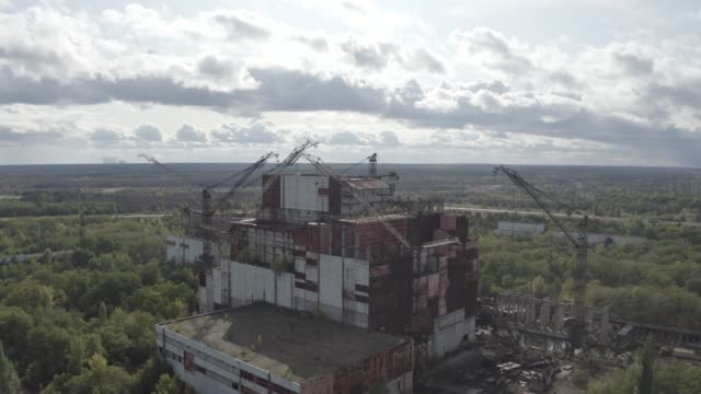 unfinished 5th unit of a nuclear power plant in the chernobyl - nuclear power station stock videos & royalty-free footage