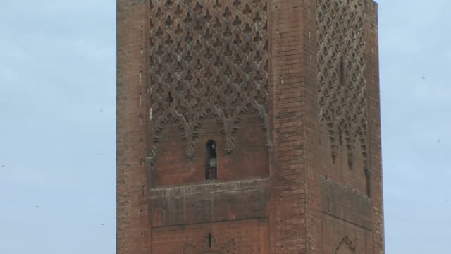 ms td unfinished hassan ii minaret, rabat, morocco - minaret stock videos & royalty-free footage