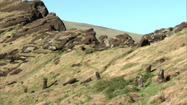 Unfinished Moai statues in quarry, Easter Island