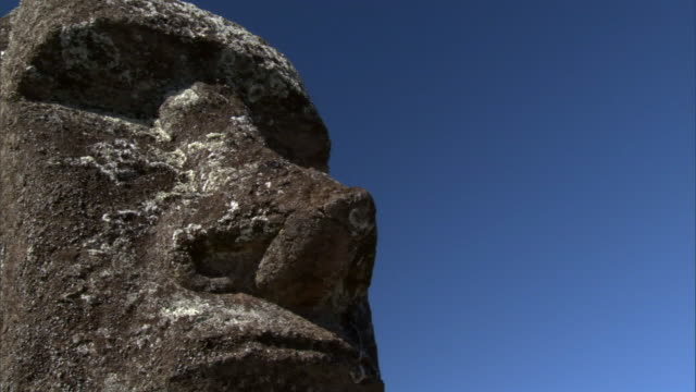 unfinished moai statues in quarry, easter island - unvollständig stock-videos und b-roll-filmmaterial