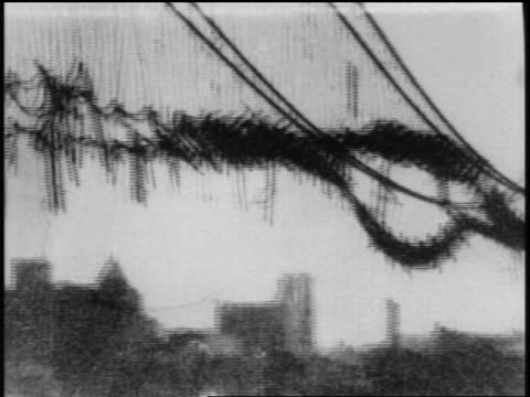 b/w 1902 pan unfinished williamsburg bridge after damage by fire / new york city / newsreel - newsreel stock videos & royalty-free footage