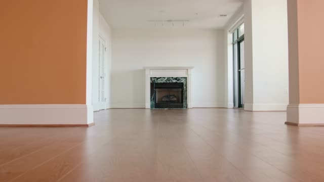 unfurnished living room - pavimento video stock e b–roll