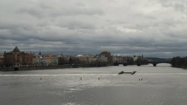 ungraded view of the prague skyline taken from charles bridge - 聖ヴィート大聖堂点の映像素材/bロール
