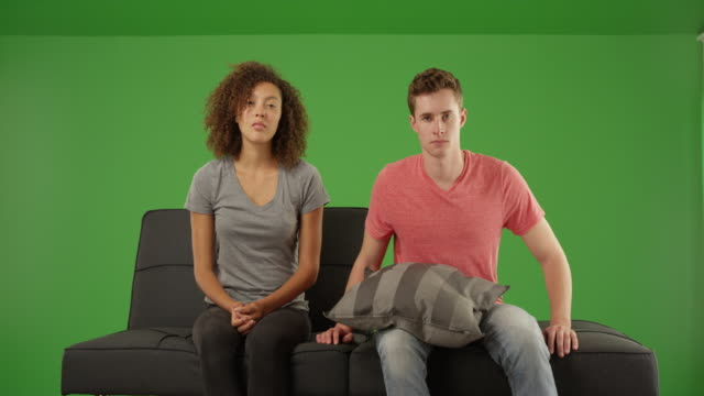 unhappy couple having therapy for relationship problems on green screen - psychiatrist's couch stock videos and b-roll footage
