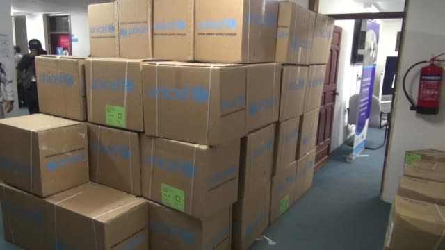 Unicef distributed medical aid in a hospital in Sanaa on Sunday