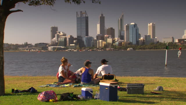 unidentifiable family having a picnic and a glass of wine under a tree in a park beside the river little girl walks off swan river and city in the... - cool box stock videos & royalty-free footage
