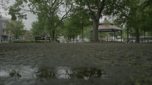 stockvideo's en b-roll-footage met unidentifiable person sitting on bench in city park gazebo trees w/ green leaves puddle on muddy ground fg vehicles driving midrise buildings bg - gazebo