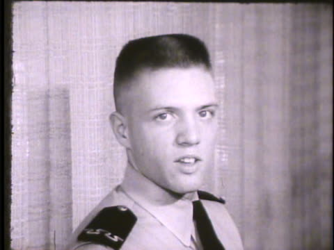 stockvideo's en b-roll-footage met unidentified cadets in room talking to camera about reasons for joining air force academy . recruits, trainees, colorado, co - kadet