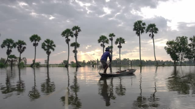 unidentified fishers throw fish net to catch fish a lake in the morning - mekong delta stock videos & royalty-free footage