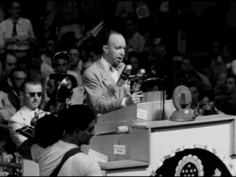 unidentified male at podium saying 'in the name of commonwealth of kentuckydeclare next vicepresidenthonorable alben w barkley ha ws delegates on... - alben w. barkley stock videos and b-roll footage