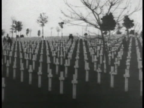 unidentified world war i cemetery w/ hundreds of white christian crosses standing marking graves gravesites. silhouette of two people walking in... - テレビ番組点の映像素材/bロール