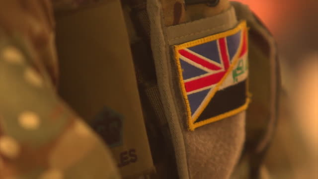 Uniform and badges worn by British soldiers training Iraqi soldiers in the fight against Islamic State