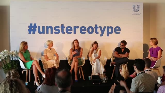 unilever's aline santos evp of global marketing hosts a panel discussion rallying the marketing industry to banish outdated stereotypes at the cannes... - gender stereotypes stock videos & royalty-free footage
