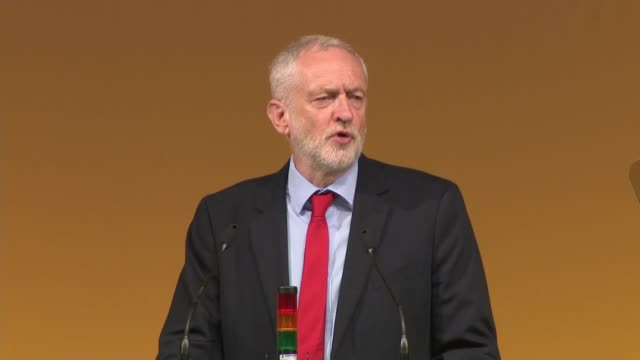 vídeos de stock e filmes b-roll de jeremy corbyn speech england east sussex brighton int jeremy corbyn mp speech sot - east sussex