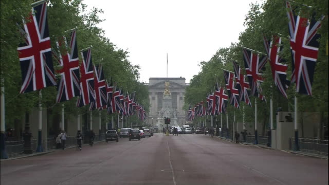 Union Flags line the street near Buckingham Palace in London, England.