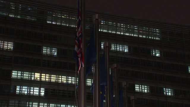 """union jack flag raised up flagpole outside european commission, brussels, as boris johnson pm visits for brexit trade talks - """"bbc news"""" stock videos & royalty-free footage"""
