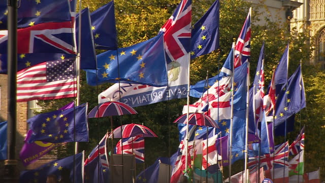 union jacks and eu flags outside the houses of parliament - national flag stock videos & royalty-free footage