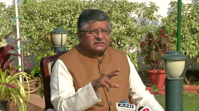 """union minister and bjp leader ravi shankar prasad's byte related to agustawestland case. he said, """"whenever you think of kickbacks in a military deal... - byte stock videos & royalty-free footage"""