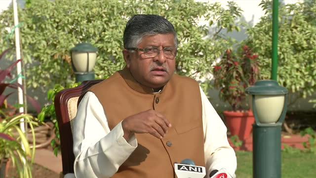 """union minister ravi shankar prasad's byte on agustawestland case. he said, """"bjp demands congress party not to maintain a silence."""" adding on, he said... - byte stock videos & royalty-free footage"""