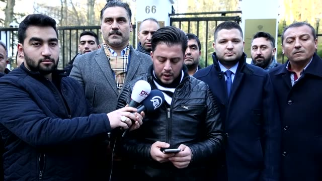 union of european turkish democrats visits russian embassy in brussels belgium on december 20 2016 officals of uetd offer their condolence for... - assassination of andrei karlov stock videos & royalty-free footage