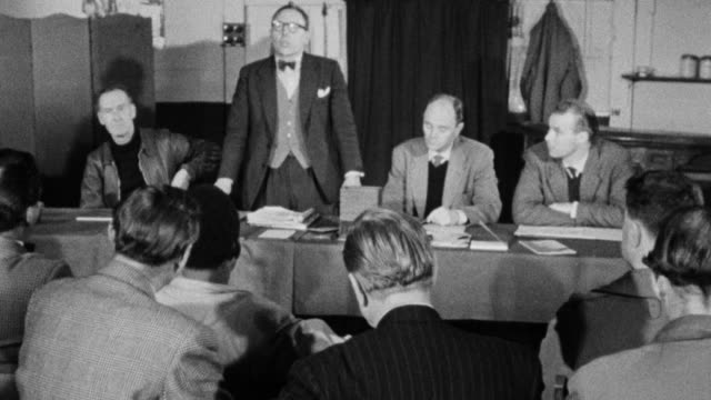 1960 ha union officers bringing a branch meeting to order / united kingdom - labour party stock videos & royalty-free footage