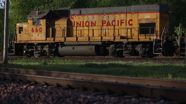 A Union Pacific Corp freight train is pictured in St Louis Missouri US on Tuesday April 25 2017 Shots shot of Union Pacific train car / CU of Union...