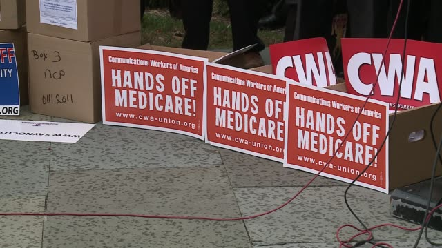 union protestors back democrat congressmen outside us capitol to protest cuts to social security medicare medicaid suggested by super committee joint... - medicaid stock videos and b-roll footage