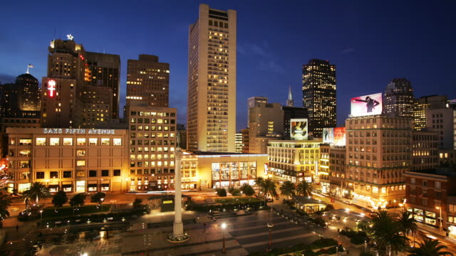T/L, HA, MS, Union Square, dusk to night, San Francisco, California, USA