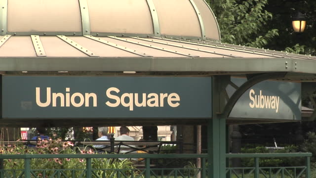 cu, union square subway entrance, new york city, new york, usa - union square new york city stock videos and b-roll footage