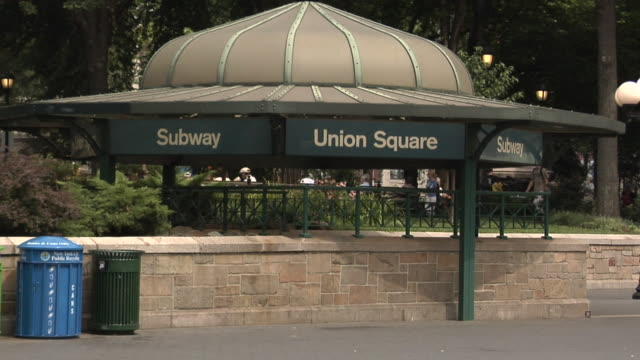 ms, union square subway entrance, new york city, new york, usa - union square new york city stock videos and b-roll footage