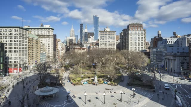 union square time lapse - new york - union square new york city stock videos & royalty-free footage