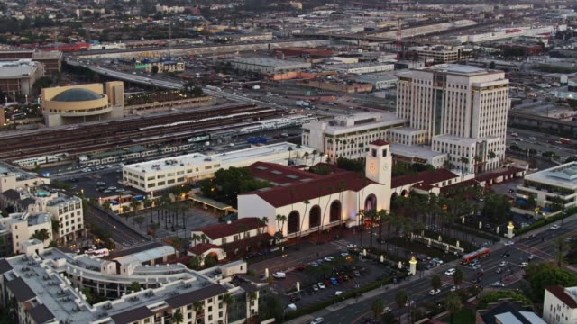 union station and train yard in los angeles - static aerial shot - union station los angeles stock videos & royalty-free footage