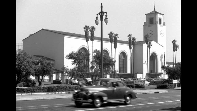union station exterior union station exterior on january 01 1942 in los angeles california - union station los angeles stock videos & royalty-free footage