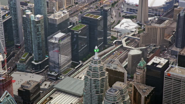 aerial union station in toronto, ontario - mast stock videos & royalty-free footage