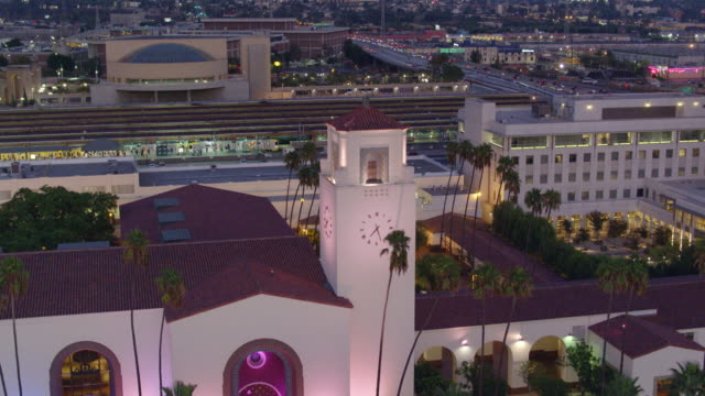 union station, los angeles after sunset - aerial shot - union station los angeles stock videos & royalty-free footage