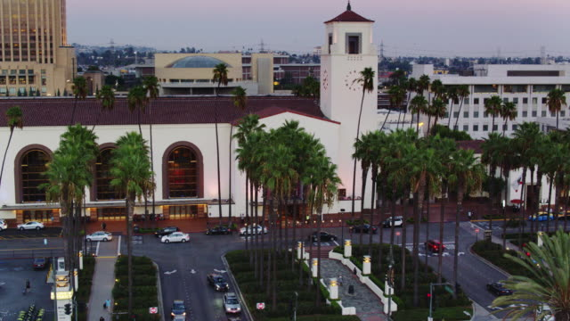 union station, los angeles at sunset - aerial view - union station los angeles stock videos & royalty-free footage