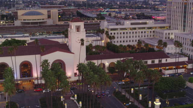 union station square, los angeles - drone shot - union station los angeles stock videos & royalty-free footage