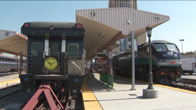 ktla union station summer train fest - union station los angeles stock videos & royalty-free footage