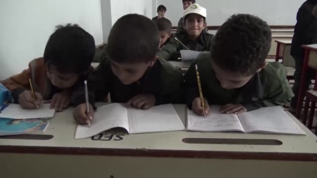 a union strike in yemen over the suspension of teachers' salaries has ground education in areas controlled by the iran backed huthi rebels to a halt... - yemen stock videos and b-roll footage