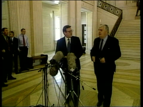 unionist reject government plan david trimble and john taylor standing at mikes - david trimble stock videos and b-roll footage