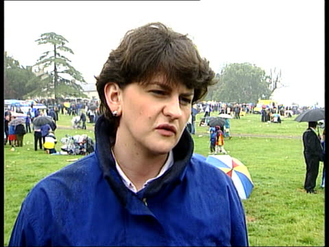 unionist reject government plan itn people reenacting the battle of the boyne people watching men fighting with swords arlene foster interview sot... - party poster stock videos & royalty-free footage